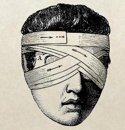 Animated blind man with bandaged eyes