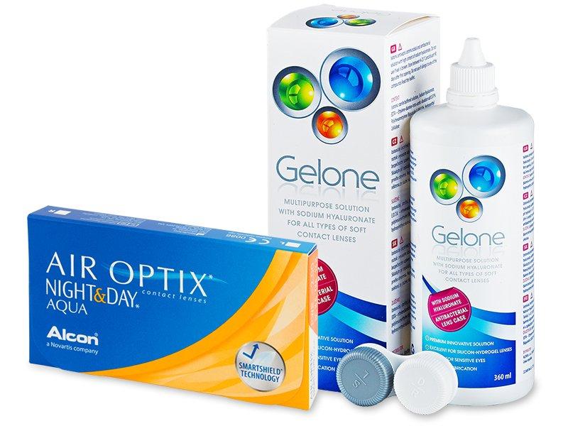 056442acdb29f2 Air Optix Night and Day Aqua (6 lentillas) + Líquido Gelone 360 ml ...