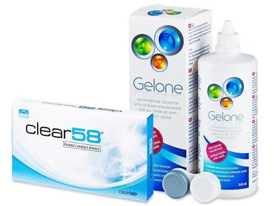 Clear 58 (6lentillas) +Líquido Gelone360 ml