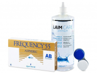 Pack lentillas + Laim-Care - Frequency 55 Aspheric (6 Lentillas) + Líquido Laim-Care 400 ml