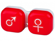 Estuche de lentillas - Estuche para lentillas Hombre y mujer - Rojo