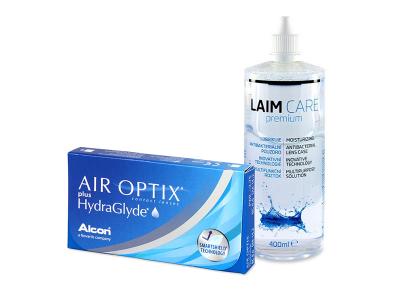 Air Optix plus HydraGlyde (3 lentillas) + Líquido Laim-Care 400 ml