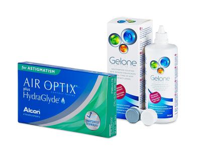 Air Optix plus HydraGlyde for Astigmatism (6 lentillas) + Líquido Gelone 360 ml