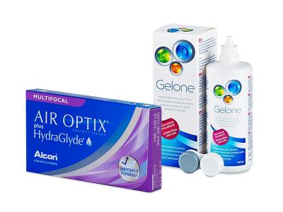 Air Optix plus HydraGlyde Multifocal (3 lentillas) + Líquido Gelone 360 ml