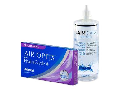 Air Optix plus HydraGlyde Multifocal (3 lentillas) + Líquido Laim-Care 400 ml