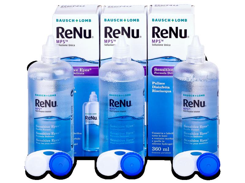 Líquido ReNu MPS Sensitive Eyes 3 x 360 ml  - Pack ahorro - solución triple