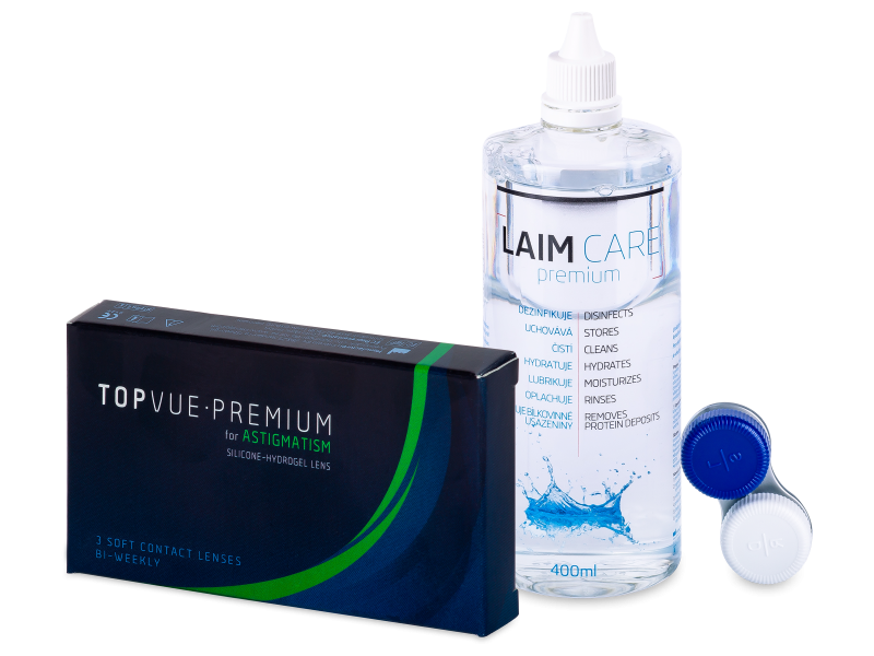 TopVue Premium for Astigmatism (3 lentillas) +  Líquido Laim-Care 400 ml