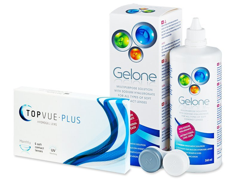 TopVue Monthly Plus  (6 Lentillas) +  Líquido Gelone 360 ml - Pack ahorro