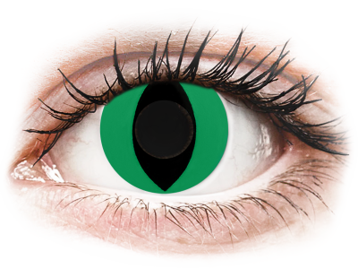 CRAZY LENS - Cat Eye Green - Diarias sin graduación (2 Lentillas)