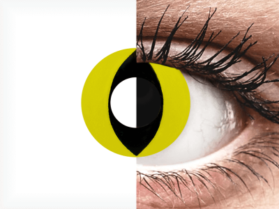 CRAZY LENS - Cat Eye Yellow - Diarias sin graduación (2 Lentillas)
