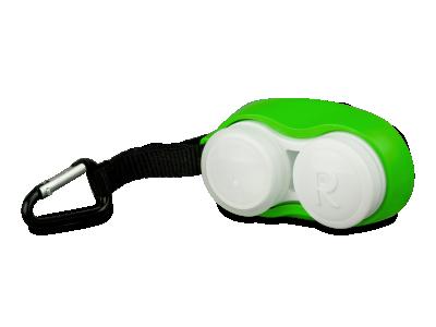 Estuche para lentillas con mosquetón - verde