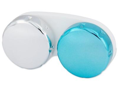 Estuche de lentillas con acabado en espejo – Azul/plata